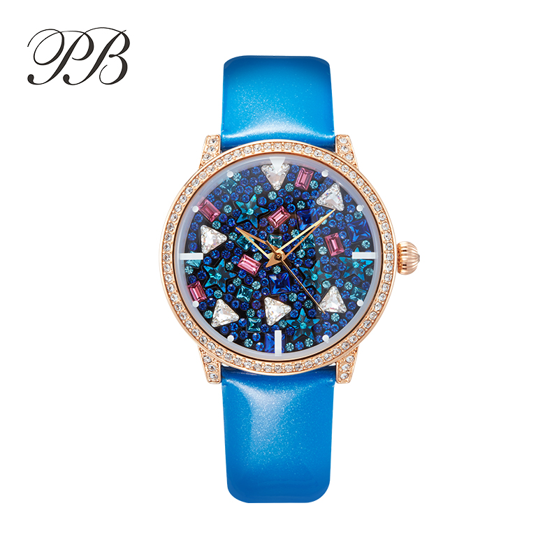 Watch Women Famous Brand PB Fashion Ladies Retro Crystal The Waterproof Multifunction Quartz Watch montre marque luxe femmeHL589