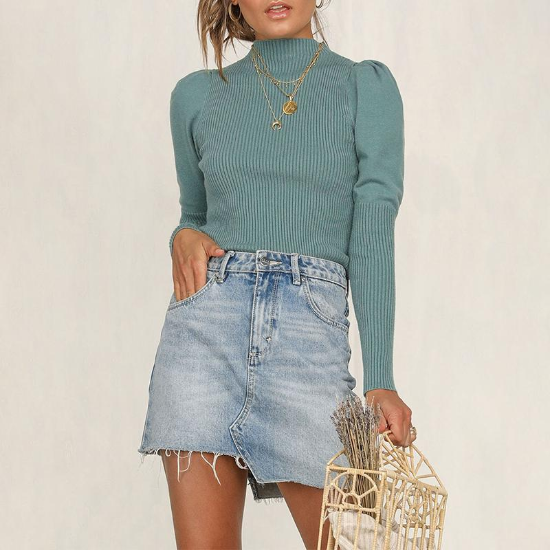 Aartiee Elegant Casual Pullover Sweater Women Knitted Turtleneck Slim Ladies 2019 Autumn Winter Vintage Sweater Female Soft New