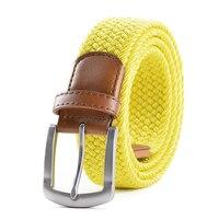 Extra Largo amarillo elástico cinturón web mens stretch cinturón metal hebilla tejida trenza cinturones para hombres grandes