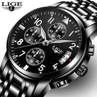 Relogio Masculino LIGE Mens Watches Top Brand Luxury Fashion Business Quartz Watch Men Sport Full Steel