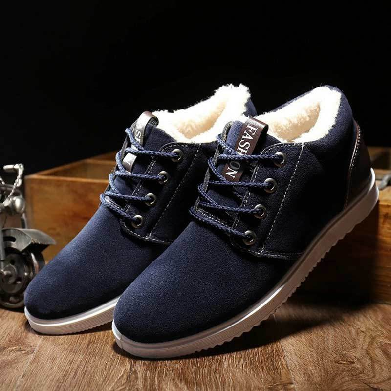 Boots Men Winter Shoes 2017 Fashion Suede Lace-up Snow Boots Solid Black/blue/yellow Ankle Boots Plush Warm Shoes