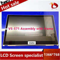 with frame New 15.6 LCD Touch Screen Digitizer Assembly B156XTN03.1 For Acer Aspire V5 571 V5 571P V5 571PG touch can not work
