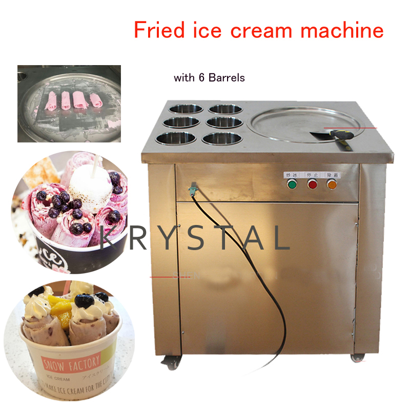 Fried Ice Cream Maker Commercial Ice Cream machine Roll Ice Cream Making pan with 6 Barrels CBJ-1*6 ce fried ice cream machine stainless steel fried ice machine single round pan ice pan machine thai ice cream roll machine