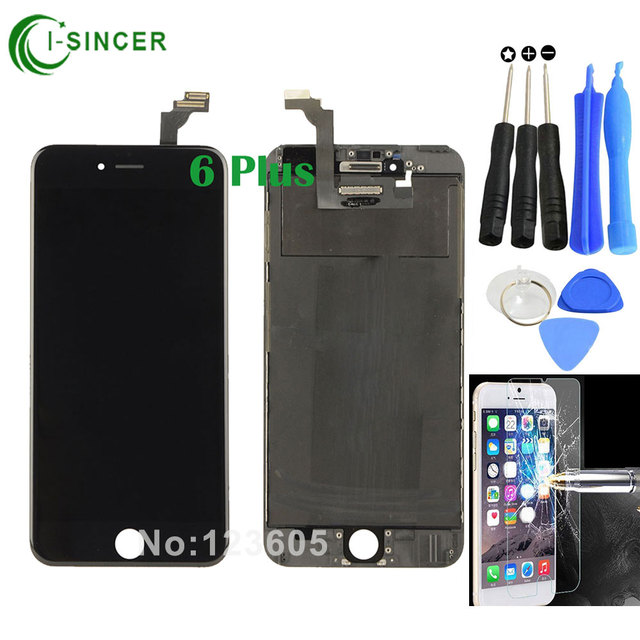 """High Quality 5.5"""" Black/White+Tools+Glass Film For iPhone 6 Plus LCD Display Screen Touch Digitizer Assembly Replacement"""