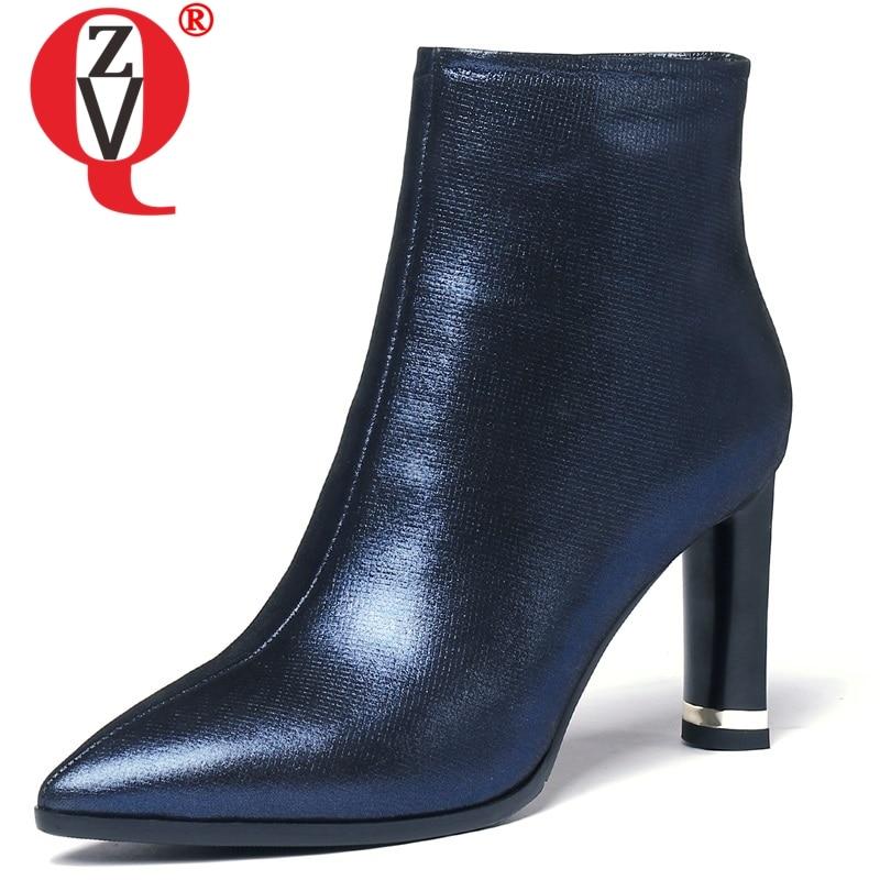 ZVQ 2019 newest popular handmade genuine leather pointed toe solid fashion super high strange style big