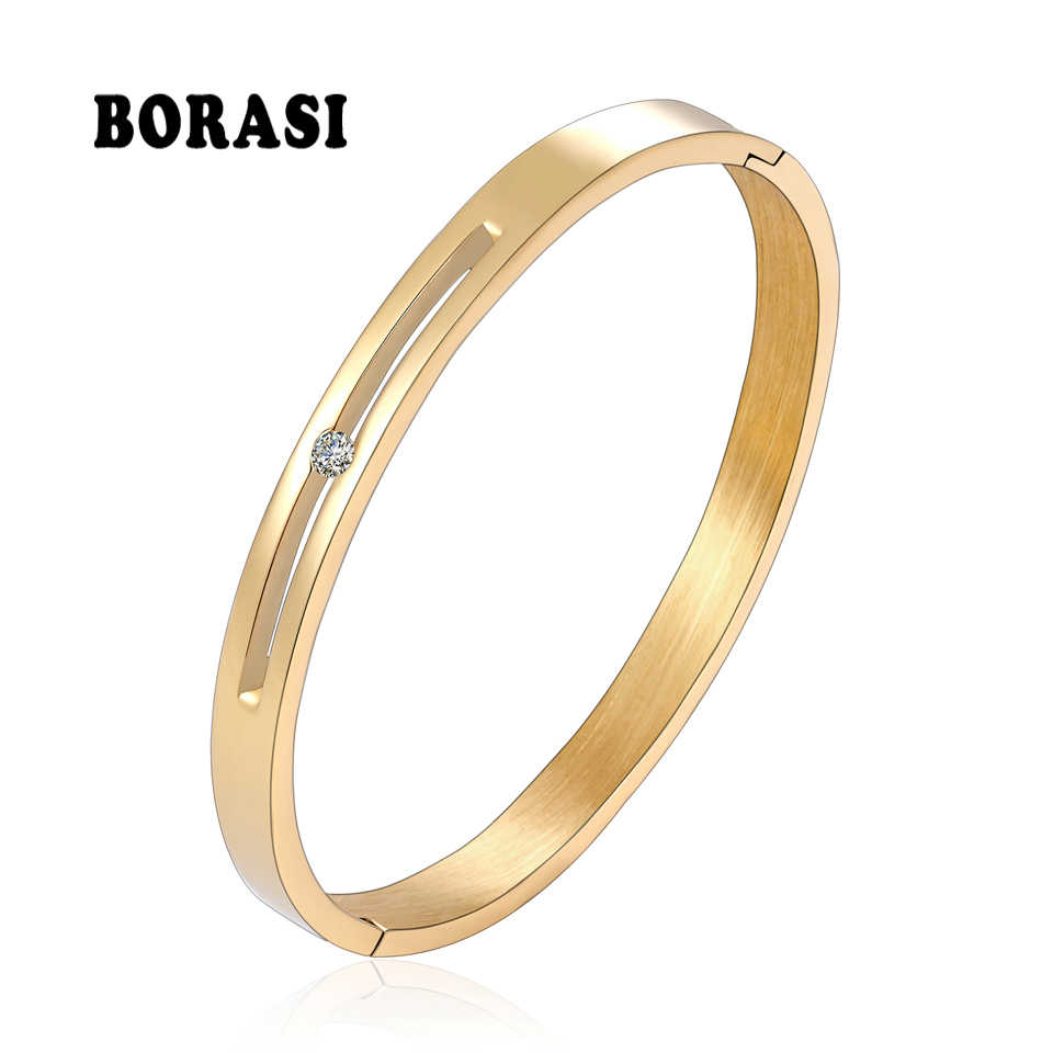 BOBASI Men Women Charm Bracelet New Three Colors Unique Hollow Middle Crystal Bracelets & Bangles Brilliant Jewelry Wedding Gift