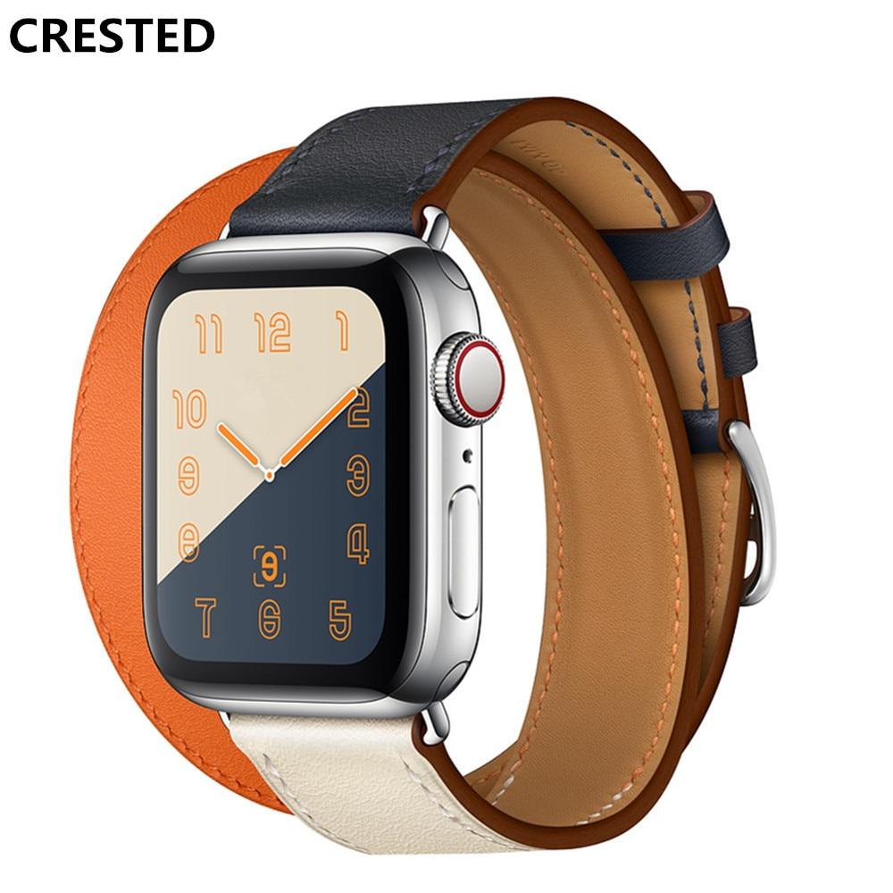 CRESTED doppel tour lederband Für apple watch 4 band 40mm 44mm correa iwatch serie 3 2 1 42mm 38mm handgelenk armband gürtel