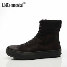 Riding Boots Mens 2017 autumn new British tie black short boots, personality trend fashion shoes casual handmade