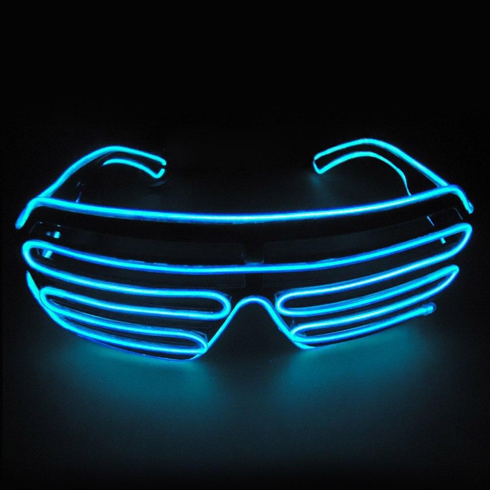 Умный светодиодный пульт дистанционного управления, стекло es, стекло EL Wire, модный неоновый светодиодный светильник в форме затвора, стекло es Rave DJ, яркие вечерние костюмы - Цвет: blue