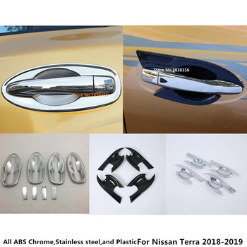 For Nissan Terra 2018 2019 2020 Car Body Cover Detector Trim ABS Chrome External Door Bowl Stick Lamp Frame 4pcs image