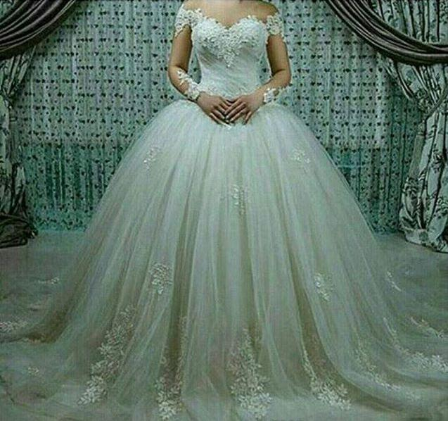 Gorgeous Sheer Ball Gown Wedding Dresses 2017 Puffy Beaded: Princess Lace Wedding Dresses Beaded Applique Puffy Ball
