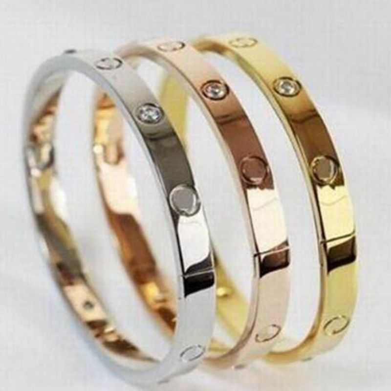 Rose Golden Lovers Bracelets For Women Crystal Open Cuff Bracelet Men Titanium Steel Bangles Couple Wedding Jewelry Gift Bijoux