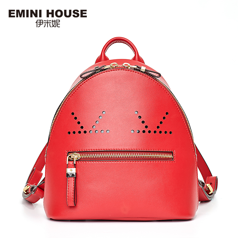 EMINI HOUSE Hollow Smile Backpack Split Leather Women Backpacks School Bags For Teenagers Women Travel Bag Casual Backpack emini house 3 colors fashion nylon women backpack school bags for teenagers women travel bag waterproof drawstring bag