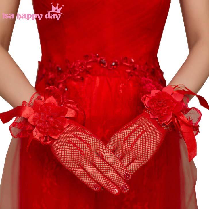 Bridal Flowered Short Wedding Gloves Bridal Gloves Mesh Lace Decoration Ultra Elastic Knitted Gloves Ivory & Red Gloves