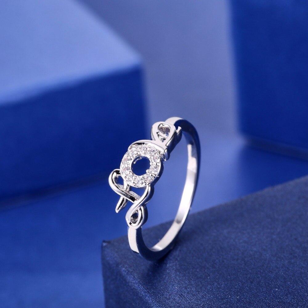 ZHE FAN Women Love Letter Rings For Girlfriend Beloved AAA Cubic Zirconia Jewellery White Purple Valentines Day Gifts