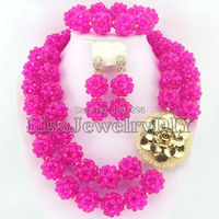 Hot Pink Fashion Crystal Ball Costume Jewellery Nigerian Wedding African Beads Jewelry Set HD0274