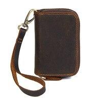 Vintage Genuine Leather Key Wallet Women Keychain Copper Zipper Key Bag Key Case Men Keys Wallets