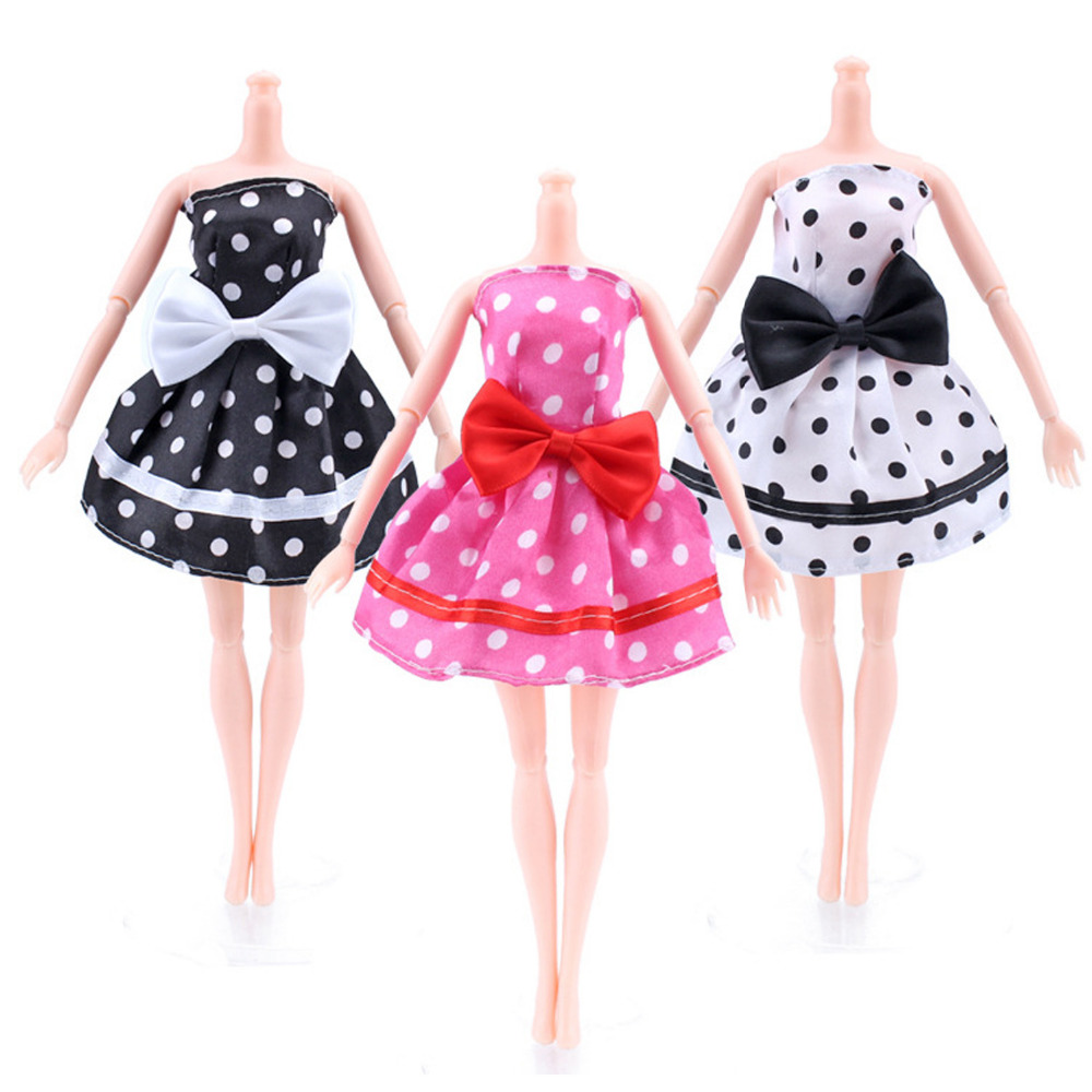 Satkago 3 PCS Elegant Girl Dolls Toys Dotted Party Dresses Gown Outfits Clothes Clothing Accessories for Barbie Toys
