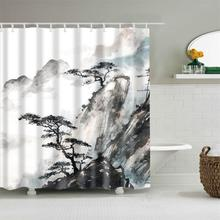 Dafield Polyester Fabric Japanese Chines Style Shower Curtain Set Mountain Sunset Beauty