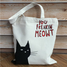 Casual Fashion Cute Cat Letter Print Tote Bag Canvas Women Female Large Capacity Shoulder Bag Pouch Daily Use Foldable Handbag letter print canvas tote bag