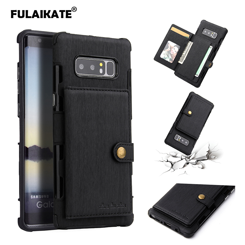 FULAIKATE Brushed Wallet <font><b>Case</b></font> for <font><b>Samsung</b></font> Galaxy Note 8 Card Pocket Back Cover for <font><b>note8</b></font> SM-N9500 Drawing Phone Protective <font><b>Cases</b></font> image
