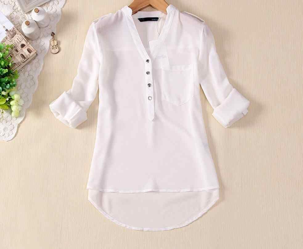 Zwart, Wit, blauw Vrouwen Chiffon Shirt 2019 Lente Zomer Womens Lange mouwen Casual Chiffon Shirt v-hals Blouse Zakken Plus Size