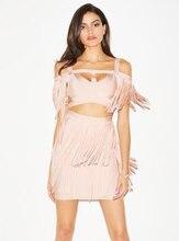 Блестящие Красота высокое качество Для женщин Сексуальная кисточкой 2 шт. платья повязки 2017 Трикотажные Элегантные Дизайнерские платье