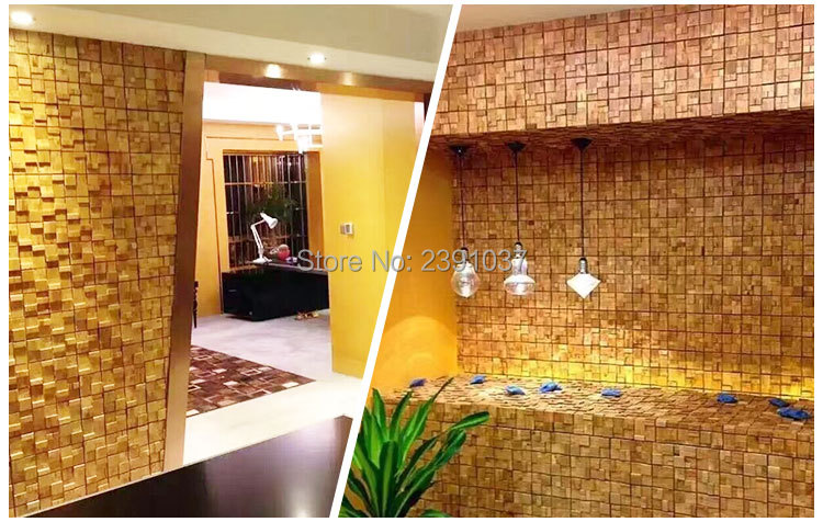 High quality Wood mosaic tiles wall sticker home wall decoration ...