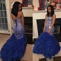 Vestidos de Baile de luxo 2017 Cristais Sweetheart Frisada Azul Royal Ruffles Organza Longo Backless Formal Partido Vestido P43