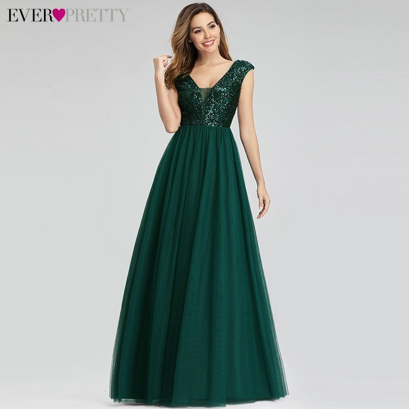 New Arrival Ever Pretty Sequined Prom Dresses Long A-Line V-Neck Elegant Sparkle Tulle Gala Dresses Mezuniyet Elbiseleri 2020