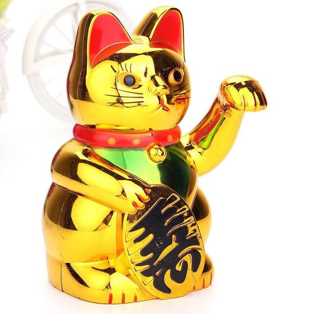 Chinese Lucky Wealth Gold Maneki Neko Cute Lucky Waving Cat Electric Craft Art Welcome Cat Home Shop Hotel Decoration 2