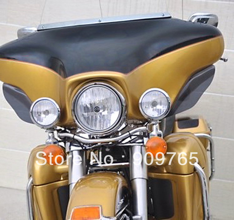 Free Shipping 1 Pair Dark Tinted Smoke Side Wings Windshield Air Deflectors For Harley Touring FLHR