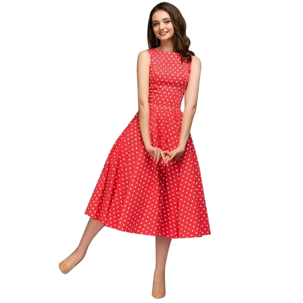 New Womens Dot Sleeveless Hebburn Vintage Zip Cute Floral Knee Length Dress Ladies Party Sexy Elegant vintage long Dresses W719
