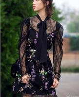 Europe And America Star Style 2018 Spring Vestido Elegant Black Lace Patchwork Print Women Dress Sd56