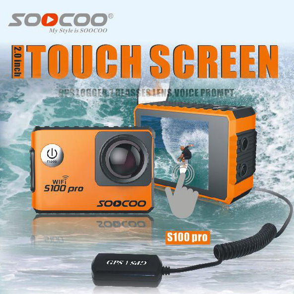 SOOCOO S100 PRO 4K Wifi Sports Action Camera Touch Screen Built-in Gyro with GPS Extension(not include) Voice Control Camera