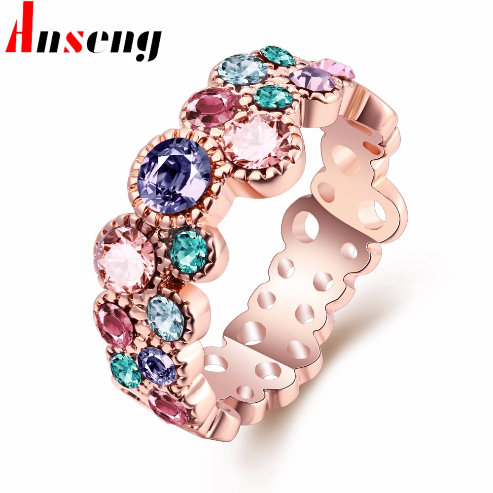 Charm Luxury Rose Gold Color Engagement Rings Women Jewelry High Quality  Mosaic Colorful Stone Gem Girls