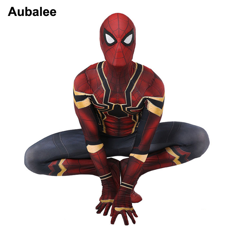 New Iron Spiderman Costume Spider-man Homecoming Spandex Zentai Suit Avengers Infinity War Marvel Superhero Tights Party Outfit