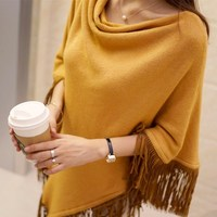 Women S Knitting Scarf Shawl Batwing Style Tassel Sweater Overwear Cape Loose Poncho Sweaters Pullover Irregularity