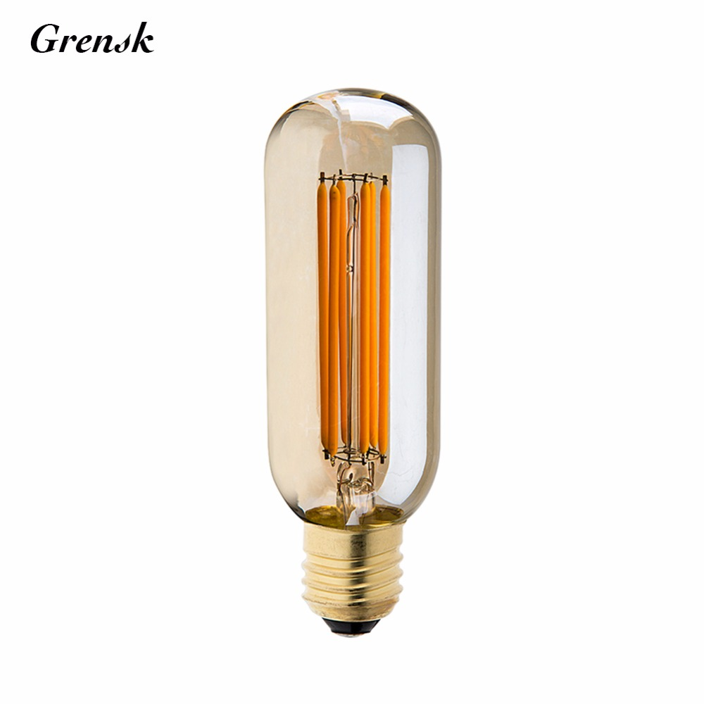 Gold Tint,6W,T45 Tubular Shape,Vintage LED Long Filament Bulb,Super warm 2200K,E26 E27 Base Lamp,Dimmable
