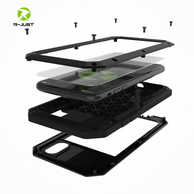 Luxury Doom armor Metal Aluminum phone Case for iPhone 4 4S 5S SE 5C X 6 6S 7 8 Plus Shockproof Dustproof Cover+Tempered glass