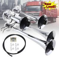 12V / 24V Zinc Alloy 150dB Super Loud Four Trumpet Chrome Air Horn Speaker for Car Vehicle Truck Train Boat Bike Vehicles