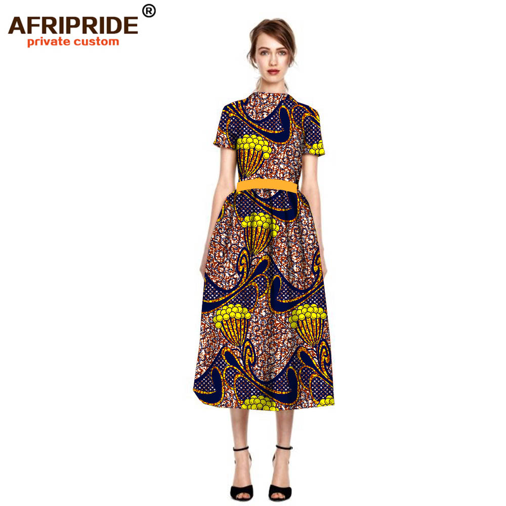 2019 New Original african dresses for women short sleeve midi dress plus size cotton summer casual