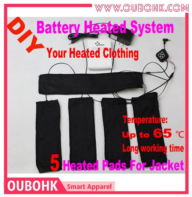 Battery Heated Clothing >> Us 76 99 Super Warm 5 Pads Battery Heated System For Diy Heated Coat Carbon Fiber Heating Body Warmer Temperature Control Washable Oubohk In Basic
