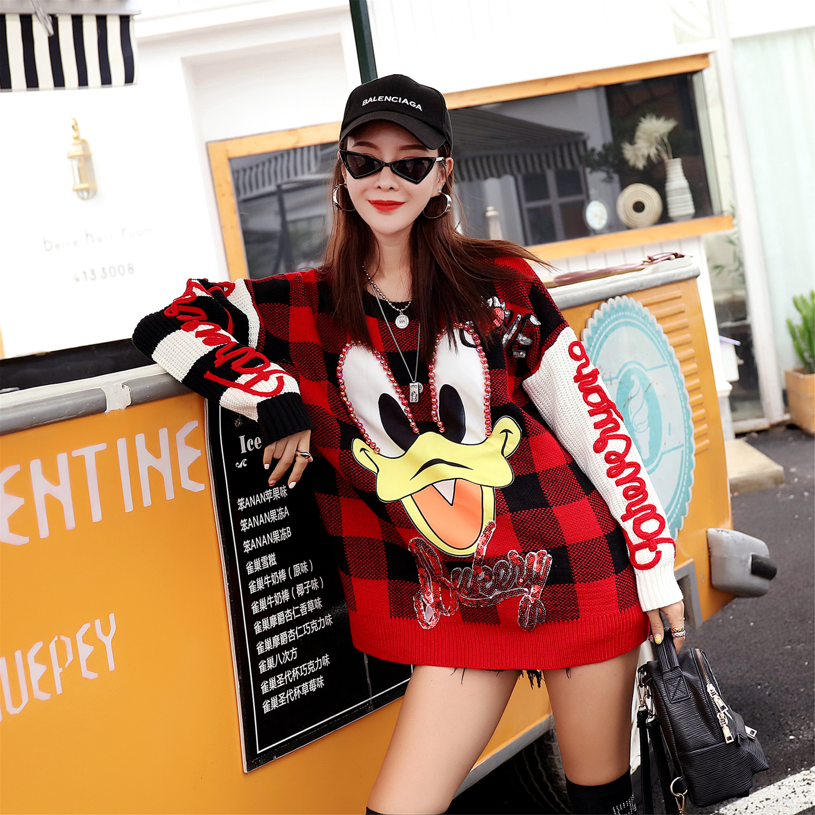 2019 Early Autumn Women's New Net Red_lazy Wind Sweater Female Thai Street Fashion Cartoon Duck Ladies Sweater Women
