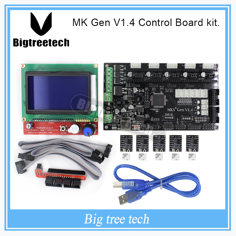 MKS Gen V1.4 3D printer kit with MKS Gen V1.4 RepRap Control board + 5PCS TMC2100 Driver/8825/A4988 + 12864 LCD latest mks gen v1 4 control board mega 2560 r3 motherboard reprap ramps1 4 compatible with usb and 5pcs tmc2100 3d printer