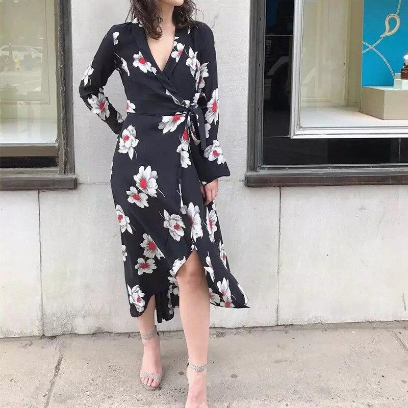 100% ผ้าไหมผู้หญิง Maxi Wrap Dress 2019 ใหม่ยาวแขนเสื้อดอกไม้พิมพ์ไม่สม่ำเสมอชุดยาว Vintage-ใน ชุดเดรส จาก เสื้อผ้าสตรี บน   1