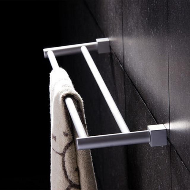 1 Pc Aluminium Alloy Double Wall Mounted Towel Bar Holder Washcloth Rack Bathroom Shower Home Hardware Accessory