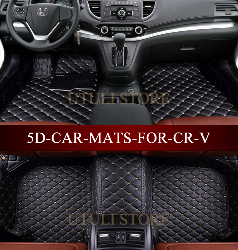 Leather Car floor mats for Honda CRV custom fit car all weather carpet floor liners foot mats CR-V mats auto floor mats for honda cr v crv 2007 2011 foot carpets step mat high quality brand new embroidery leather mats