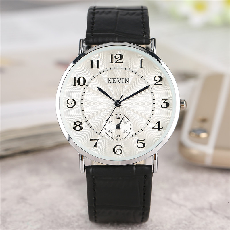 KEVIN Black/Red/White Leather Strap Women Watches Modern Quartz Ladies Watch Fashion Simple Arabic Numerals Dial Clock 2018 New 2018 new mce brand quartz watches for women fashion roman numerals simple watch casual stainless steel leather strap clock 002