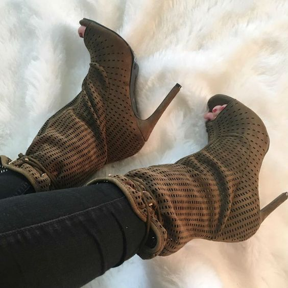 woman hot selling mid-calf boots sexy open toe cutouts sandal boots lace-up high heel shoes for woman black army green doratasia 2018 lace up black white women boots woman shoes comfort flat heel wholesale hot sale mid calf boots shoes woman